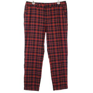 H&M High Waist Crop Plaid Pants Red Punk Rocker